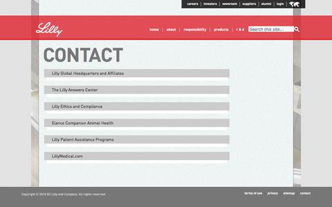Screenshot of Contact Page lilly.com - Contact - captured April 4, 2016