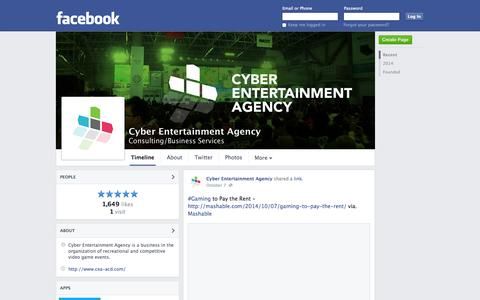 Screenshot of Facebook Page facebook.com - Cyber Entertainment Agency - Ottawa, Ontario - Consulting/Business Services | Facebook - captured Nov. 2, 2014