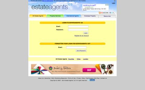 Screenshot of Login Page estateagents123.com - Real estate agents and property directory and enquiry system LOG IN - captured Oct. 7, 2014