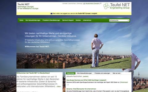 Screenshot of Home Page teufelnet.de - IP-Infrastruktur und softwaregestütze Geschäftsprozesse | Teufel NET Deutschland - captured Oct. 9, 2014