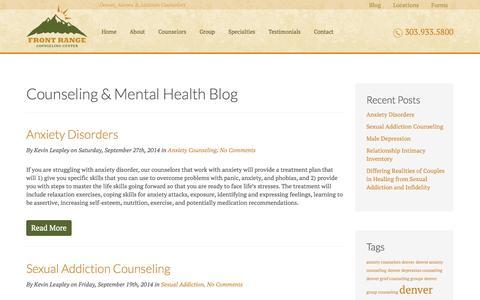 Screenshot of Blog frontrangecounselingcenter.com - Counseling & Mental Health Blog        Front Range Counseling Center - captured Sept. 30, 2014