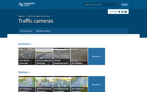 Screenshot of Menu Page nzta.govt.nz - Traffic cameras - captured Nov. 1, 2018