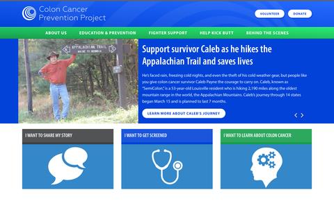 Screenshot of Home Page coloncancerpreventionproject.org captured June 22, 2015