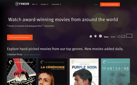 Screenshot of Home Page fandor.com - Watch Movies and Documentary Films Anywhere You Want | Fandor - captured Feb. 20, 2016