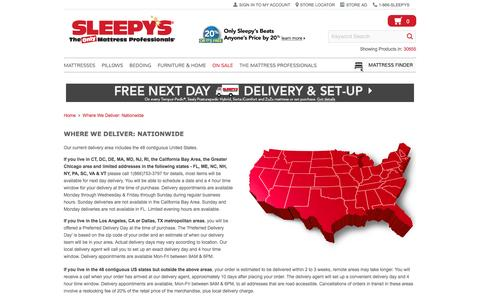 Where We Deliver - Nationwide - Sleepy's