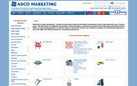 Screenshot of Products Page adcomarketing.com - Adco Marketing Promotional Items & Promotional Products - captured July 29, 2018