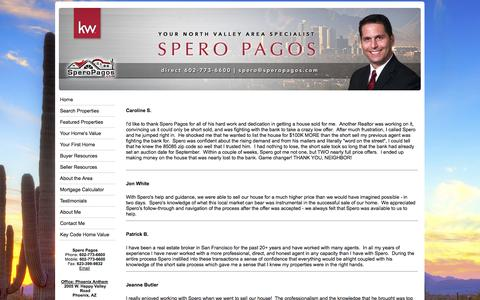 Screenshot of Testimonials Page speropagos.com - Real Estate and Homes for Sale in Phoenix by Spero Pagos  602-773-6600 - captured Nov. 3, 2014