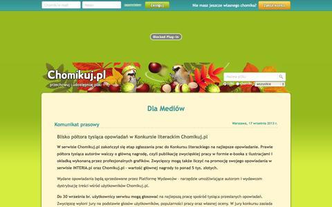 Screenshot of Press Page chomikuj.pl - Chomikuj.pl - dla mediów - captured Oct. 29, 2014
