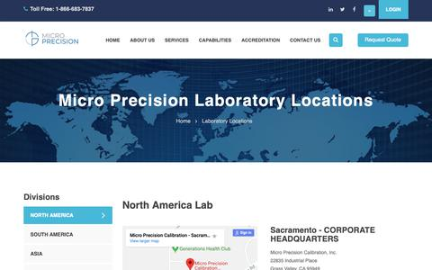 Screenshot of Locations Page microprecision.com - Micro Precision Calibration Laboratory Locations - captured Nov. 8, 2018