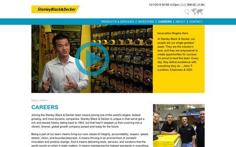 Screenshot of Jobs Page stanleyblackanddecker.com - Careers | Stanley Black & Decker - captured Oct. 2, 2015