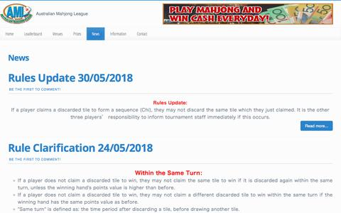Screenshot of Press Page australianmahjongleague.com.au - Mahjong Australia News Articles and Information - Mahjong Australia - captured July 31, 2018