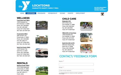 Screenshot of Locations Page charlottecountyymca.com - Charlotte County Family YMCA Locations - captured Jan. 27, 2016