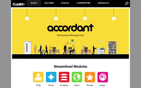 Screenshot of Products Page cadm.com - Accordant - Workspace Management by CADM - captured April 30, 2017