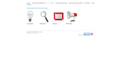 Screenshot of Menu Page blueassociates.co.uk - menu   Blue AssociatesBlue Associates - captured Sept. 30, 2014
