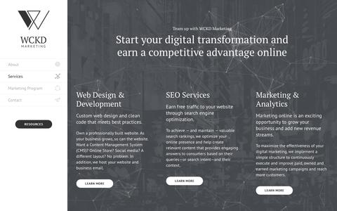 Screenshot of Services Page wckd.marketing - Web Design, SEO, Digital Marketing Services - WCKD Marketing - captured Sept. 24, 2018