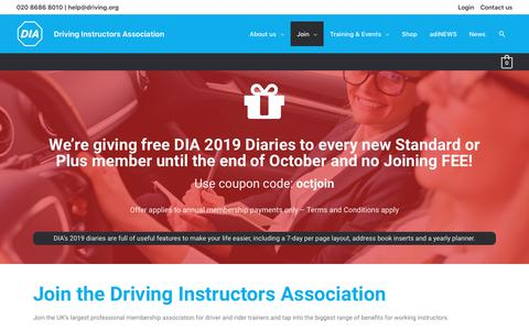 Screenshot of Signup Page driving.org - Driving Instructors AssociationJoin - captured Oct. 8, 2018