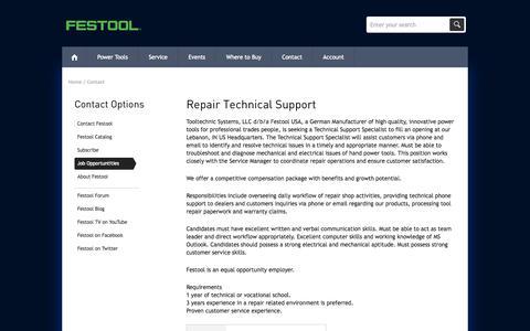 Screenshot of Jobs Page festoolusa.com - Job Opportunities - Festool Power Tools - captured Sept. 24, 2014