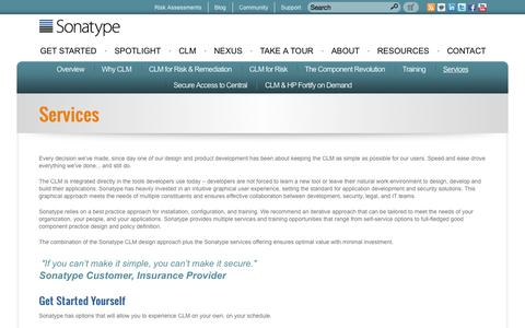 Screenshot of Services Page sonatype.com - CLM - Services - Sonatype.com - captured Sept. 17, 2014
