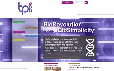 Screenshot of Home Page theraproteins.com - TPI - captured July 11, 2014