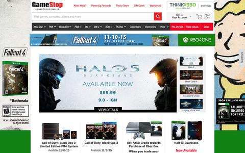 Screenshot of Home Page gamestop.com - Video Games for Xbox One, PS4, Wii U, PC, Xbox 360, PS3 & 3DS | GameStop - captured Oct. 28, 2015