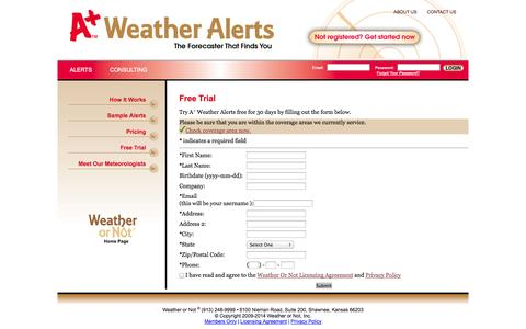 Screenshot of Trial Page weatherornot.com - Wireless Weather Alerts, Mobile Weather Forecast | A+ Weather Alerts - captured Oct. 26, 2014