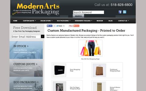 Screenshot of Products Page shoppingbags.com - Custom Manufactured Packaging, Custom Printed Shopping Bags, Customized Boxes, Tissue, Ribbon - Modern Arts - captured Oct. 26, 2014