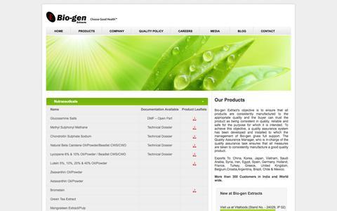 Screenshot of Products Page bio-gen.in - Bio-gen Extracts Pvt Ltd. - captured Oct. 5, 2014