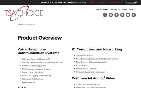 Screenshot of Products Page tsachoice.com - TSAChoice Overview: Telecommunications, IT, Cabling, Data & Security Products and Services - captured Dec. 3, 2016