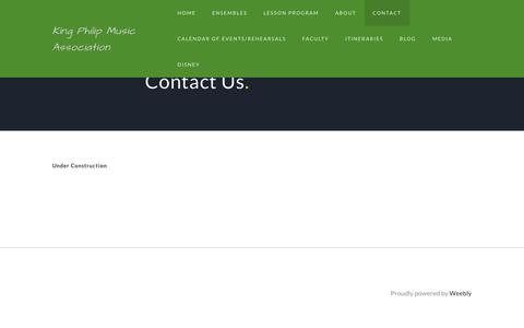 Screenshot of Contact Page weebly.com - Contact - King Philip Music Association - captured June 10, 2018