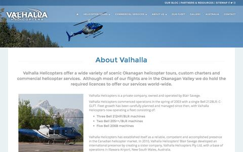 Screenshot of About Page valhallahelicopters.com - About Valhalla | Valhalla Helicopters - captured Nov. 28, 2016