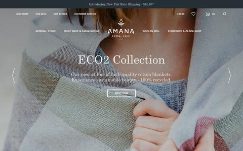 Screenshot of Home Page amanashops.com - Amana Shops | Handcrafted American-made Furniture, Wool & Cotton Blankets, Gourmet Foods & Meats - captured March 11, 2016