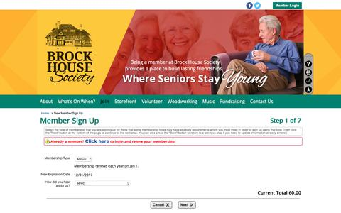 Screenshot of Signup Page clubexpress.com - New Member Sign Up - Brock House Society - captured June 3, 2017