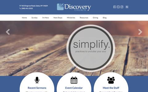 Screenshot of Home Page discoverychurchny.com - Discovery Church - captured Oct. 5, 2014