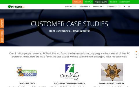 Screenshot of Case Studies Page pcmatic.com - PC Matic PRO | Case Studies - captured July 8, 2018