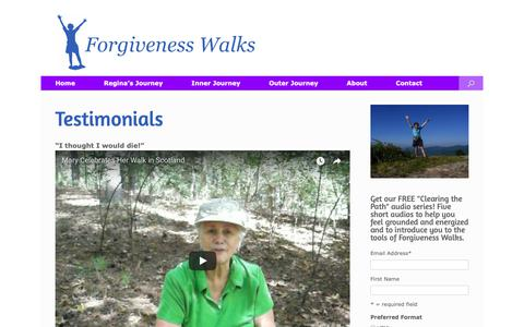 Screenshot of Testimonials Page forgivenesswalks.com - Testimonials   Forgiveness Walks - captured Oct. 10, 2018