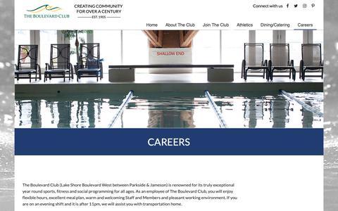 Screenshot of Jobs Page boulevardclub.com - The Boulevard Club - Toronto, ON - Careers - captured Nov. 16, 2018