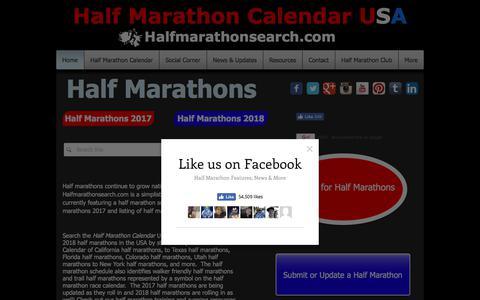 Screenshot of Home Page halfmarathonsearch.com - Half Marathons 2018 - Half Marathons 2017 - Half Marathon Calendar USA - captured July 12, 2017