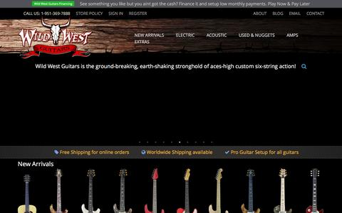 Screenshot of Home Page wildwestguitars.com - Wild West Guitars - Paul Reed Smith Fender Suhr Ernie Ball Music Man Jackson Duesenberg - #1 PRS Private Stock Dealer - captured Jan. 11, 2016