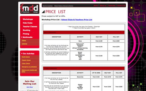 Screenshot of Pricing Page maximumdd.co.uk - Kids Clubs - Maximum Dance Design - captured Oct. 27, 2014