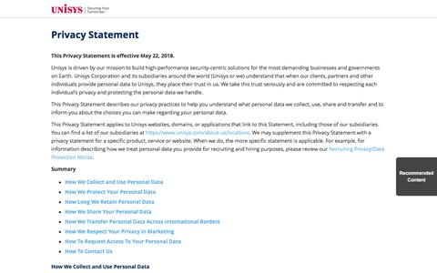 Screenshot of Privacy Page unisys.com - Privacy Statement - captured Nov. 9, 2019