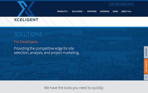 Screenshot of Developers Page xceligent.com - For Developers | Xceligent, Inc. - captured Sept. 10, 2016