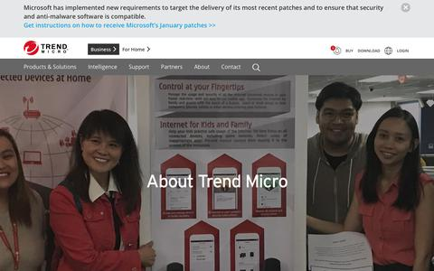 Screenshot of About Page trendmicro.com - About Us | Trend Micro - captured Jan. 16, 2018