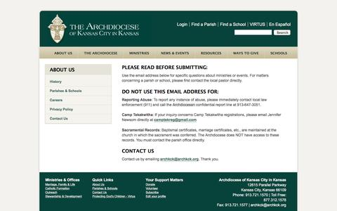 Screenshot of Contact Page archkck.org - Contact Us - captured Nov. 21, 2016