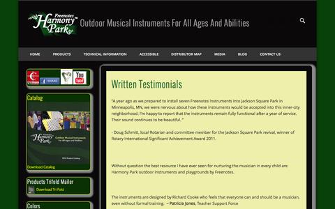Screenshot of Testimonials Page freenotesharmonypark.com - Written Testimonials - captured Oct. 6, 2014