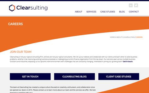 Screenshot of Jobs Page clearsulting.com - Join the Clearsulting Team : Clearsulting - captured March 7, 2019