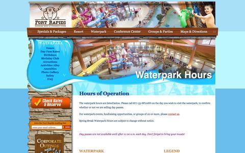 Screenshot of Hours Page fortrapids.com - Hours of Operation :: Waterpark  :: Fort Rapids Indoor Waterpark Resort :: Columbus, Ohio - captured Feb. 10, 2016