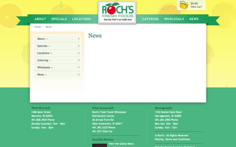Screenshot of Press Page rochs.com - Roch's Fresh Foods Gift Baskets and More - News - captured Oct. 6, 2014