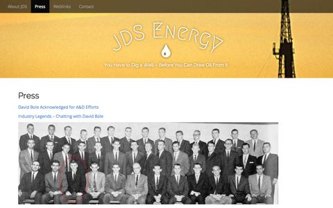 Screenshot of Press Page jdsenergyllc.com - Press | JDS Energy - captured Sept. 30, 2014