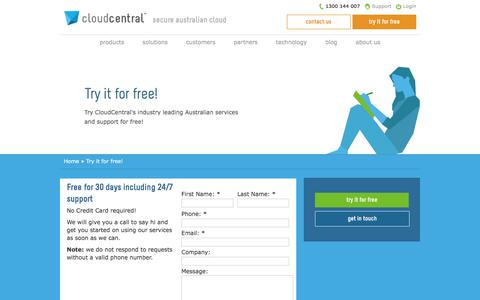 Screenshot of Trial Page cloudcentral.com.au - Try it for free! | CloudCentral - captured July 14, 2016