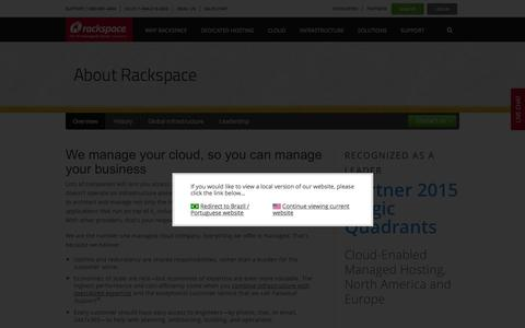 Screenshot of About Page rackspace.com - About Rackspace: The number one Managed Cloud company - captured Dec. 4, 2015